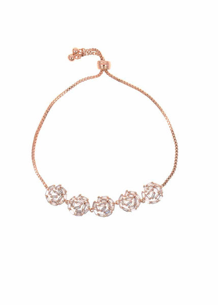 Hestia (Pronounced: eh s thee aa, Greek goddess of Fire) Five Small round motif Bracelet with hand set high quality CZ, Rose Gold finish