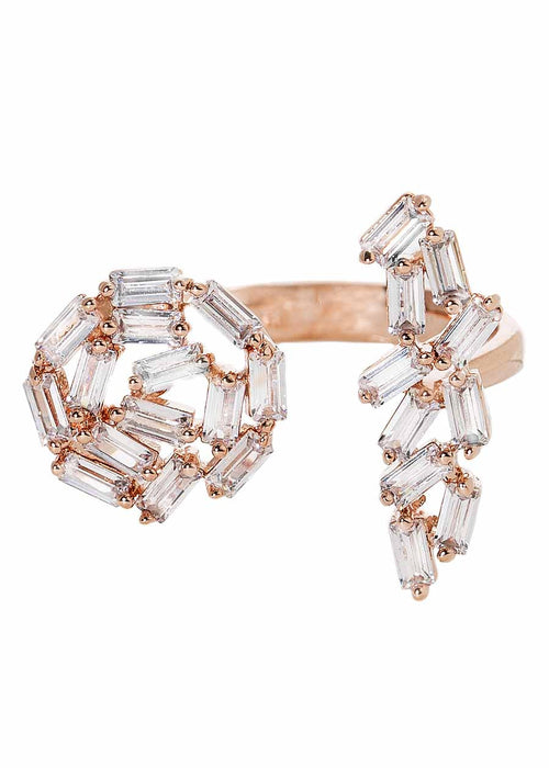 Hestia (Pronounced: eh s thee aa, Greek goddess of Fire) Sun and the moon ring with hand set high quality CZ, Rose Gold finish
