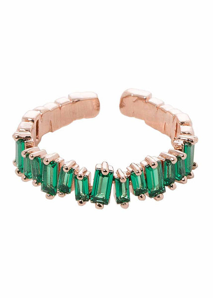 Hestia (Pronounced: eh s thee aa, Greek goddess of Fire) Eternity ring with hand set high quality Green emerald CZ, Rose Gold finish