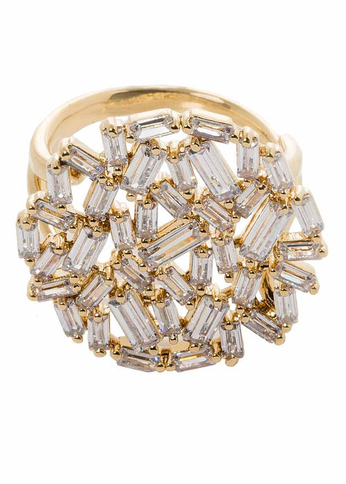 Hestia (Pronounced: eh s thee aa, Greek goddess of Fire) Round motif adjustable ring with hand set high quality CZ, Gold finish