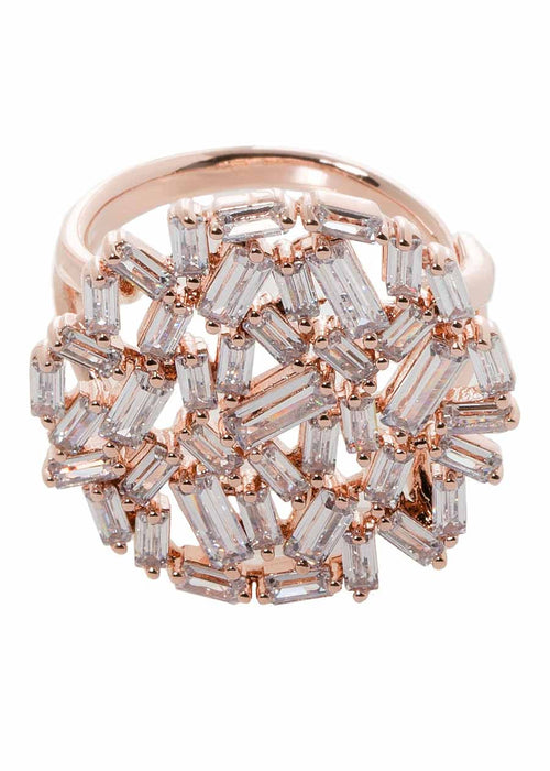 Hestia (Pronounced: eh s thee aa, Greek goddess of Fire) Round motif adjustable ring with hand set high quality CZ, Rose Gold finish
