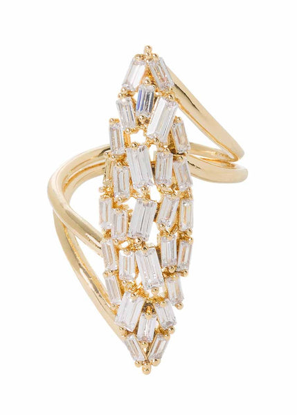 Hestia (Pronounced: eh s thee aa, Greek goddess of Fire) Marquise motif adjustable ring with hand set high quality CZ, Gold finish