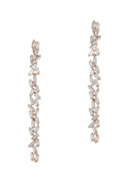 Hestia (Pronounced: eh s thee aa, Greek goddess of Fire) Double row drop earrings with hand set high quality CZ, Rose Gold finish