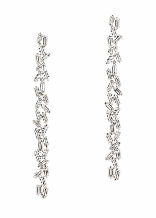 Hestia (Pronounced: eh s thee aa, Greek goddess of Fire) Double row drop earrings with hand set high quality CZ, White Gold finish