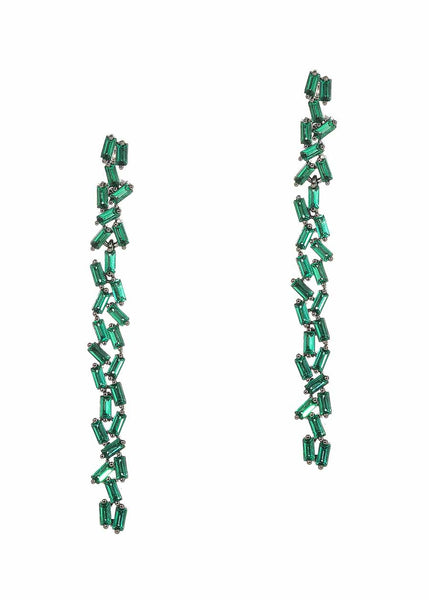 Hestia (Pronounced: eh s thee aa, Greek goddess of Fire) Double row drop earrings with hand set high quality Green Emerald CZ, Gun metal finish