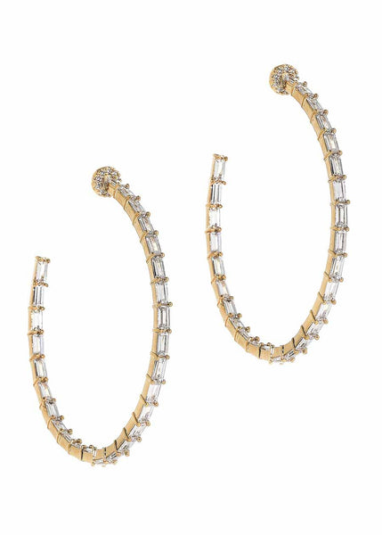 Hestia (Pronounced: eh s thee aa, Greek goddess of Fire) Inside out hoop earrings with hand set high quality CZ, Gold finish