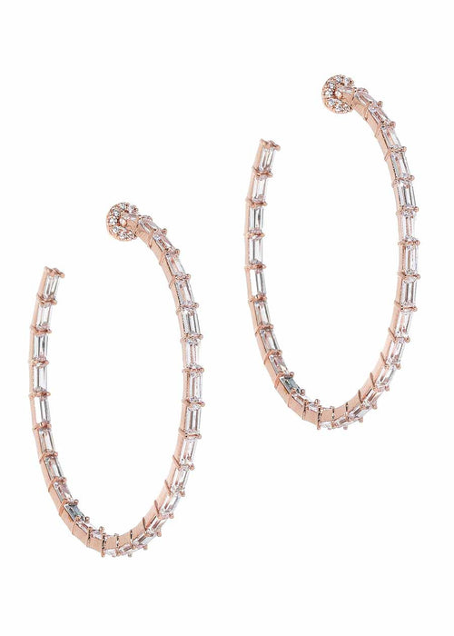 Hestia (Pronounced: eh s thee aa, Greek goddess of Fire) Inside out hoop earrings with hand set high quality CZ, Rose Gold finish
