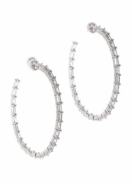 Hestia (Pronounced: eh s thee aa, Greek goddess of Fire) Inside out hoop earrings with hand set high quality CZ, White Gold finish
