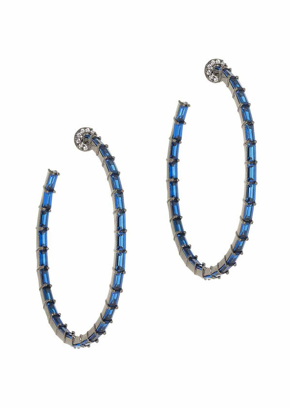 Hestia (Pronounced: eh s thee aa, Greek goddess of Fire) Inside out hoop earrings with hand set high quality Blue Sapphire CZ, Gun metal finish