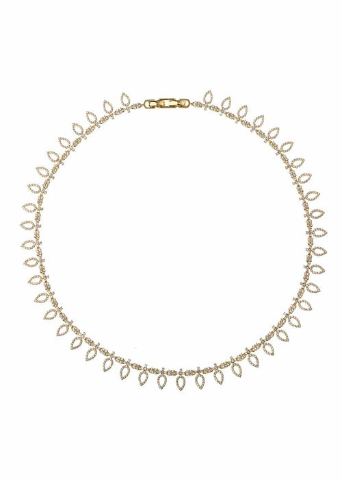 Athena short statement necklace with micropave hand set high quality CZ, Gold finish