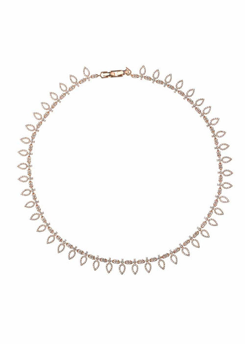 Athena short statement necklace with micropave hand set high quality CZ, Rose Gold finish