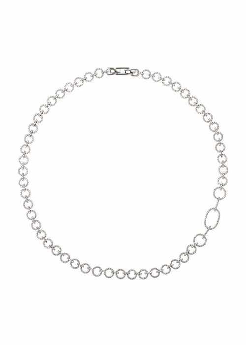 Open circle link short statement necklace with micropave hand set high quality CZ, White Gold finish