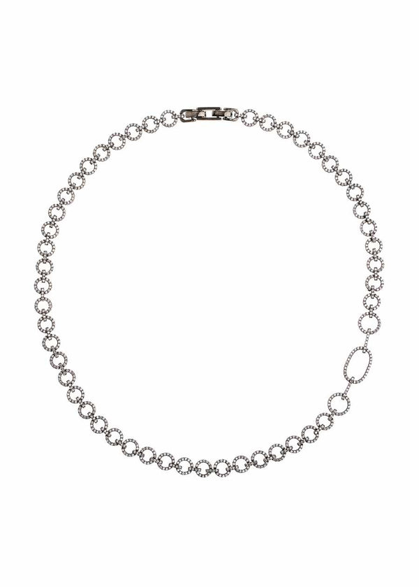 Open circle link short statement necklace with micropave hand set high quality CZ, Gun metal finish