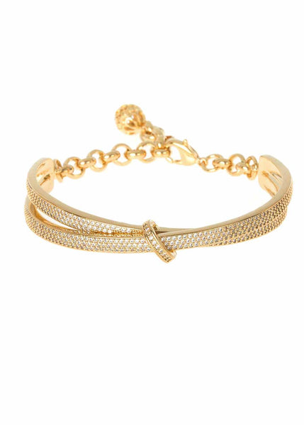 Kiss with a seal half dome bracelet with chain and ball finish with micro pave hand set high quality CZ, Gold finish