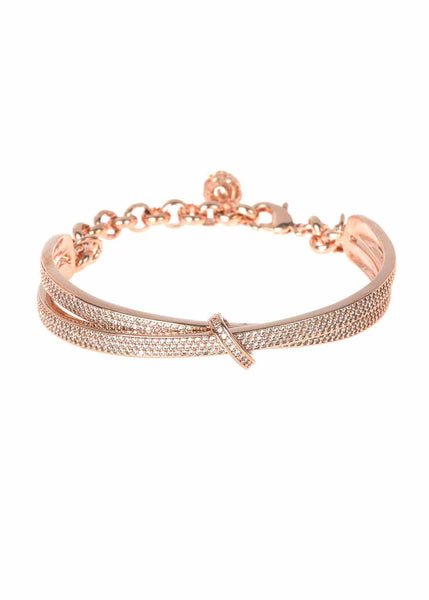 Kiss with a seal half dome bracelet with chain and ball finish with micro pave hand set high quality CZ, Rose Gold finish