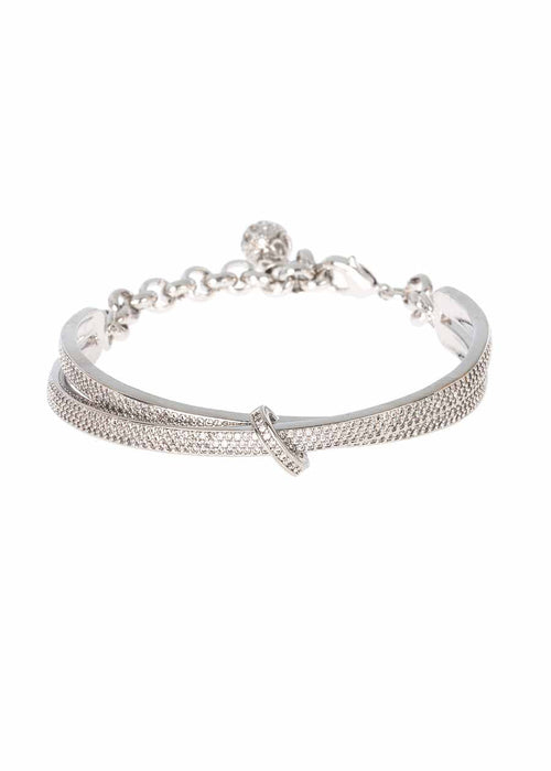 Kiss with a seal half dome bracelet with chain and ball finish with micro pave hand set high quality CZ, White Gold finish