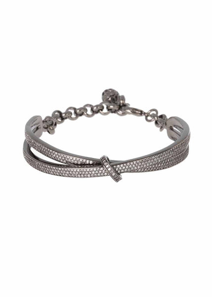 Kiss with a seal half dome bracelet with chain and ball finish with micro pave hand set high quality CZ, Gun metal finish