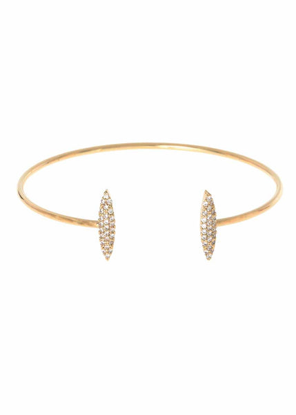 Two marquise motif accented open bangle with micro pave hand set high quality CZ, Gold finish