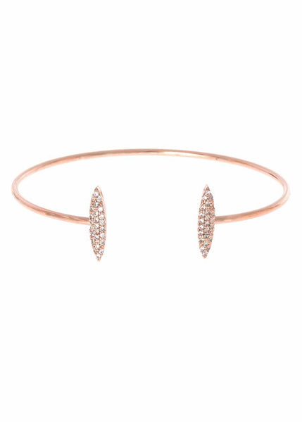 Two marquise motif accented open bangle with micro pave hand set high quality CZ, Rose Gold finish