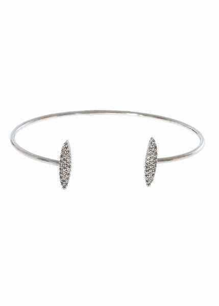Two marquise motif accented open bangle with micro pave hand set high quality CZ, White Gold finish