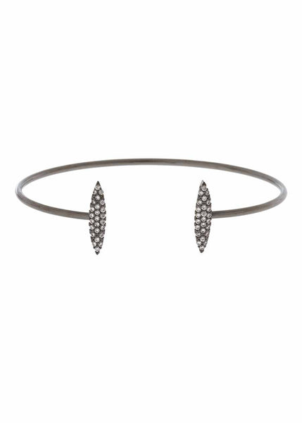 Two marquise motif accented open bangle with micro pave hand set high quality CZ, Gun metal finish