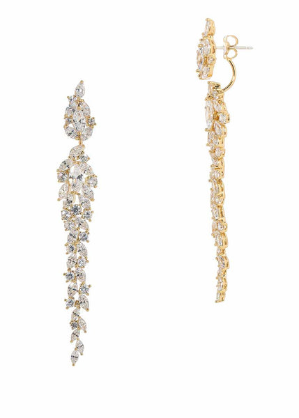 Wings of fire statement earrings with hand set high quality CZ, Gold finish.  Can be worn together or separate