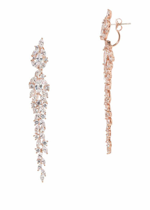 Wings of fire statement earrings with hand set high quality CZ, Rose Gold finish.  Can be worn together or separate