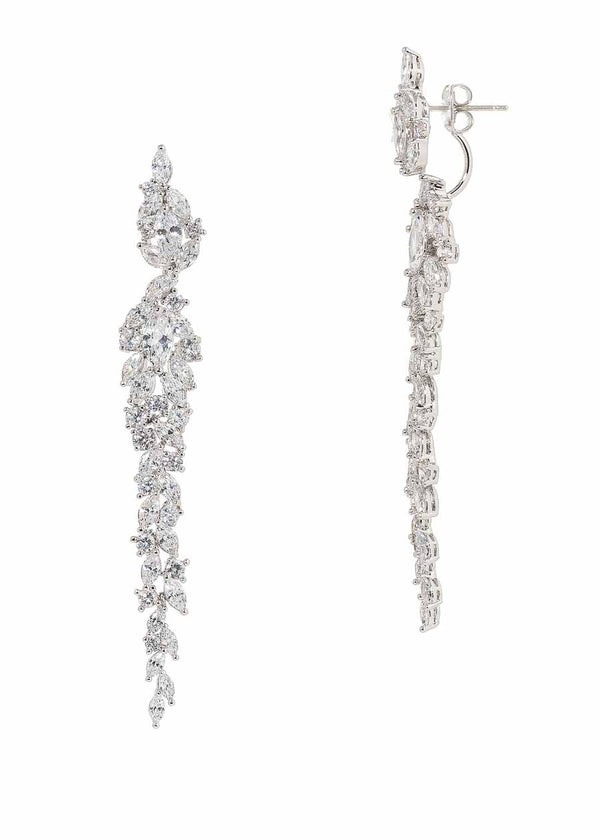 Wings of fire statement earrings with hand set high quality CZ, White Gold finish.  Can be worn together or separate