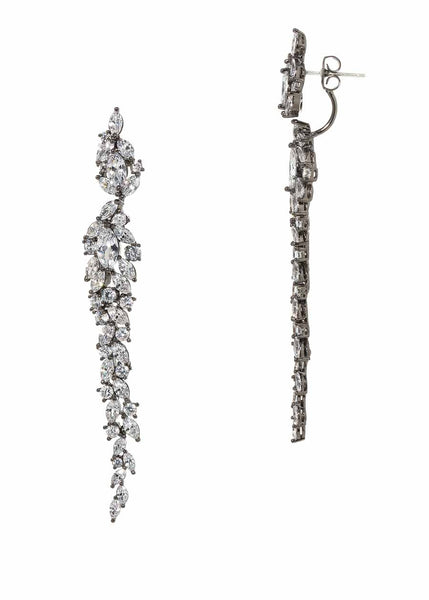 Wings of fire statement earrings with hand set high quality CZ, Gun metal finish.  Can be worn together or separate