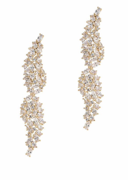Angel Wings drop earrings with hand set high quality CZ, Gold finish.