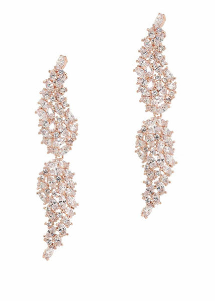 Angel Wings drop earrings with hand set high quality CZ, Rose Gold finish.