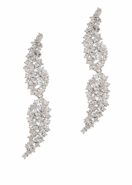 Angel Wings drop earrings with hand set high quality CZ, White Gold finish.