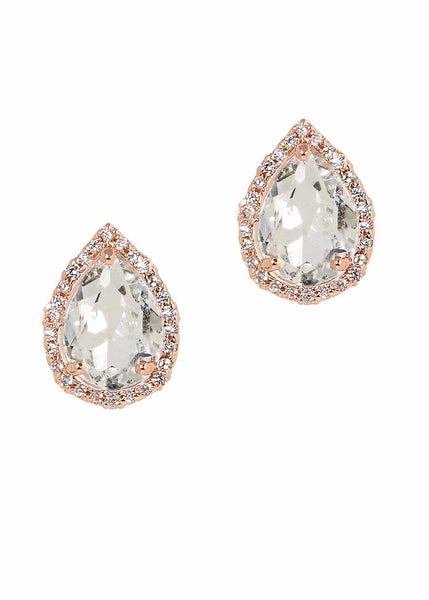 High Quality hand set 1.5 Ct CZ teardrop stud earrings with halo, Rose Gold finish
