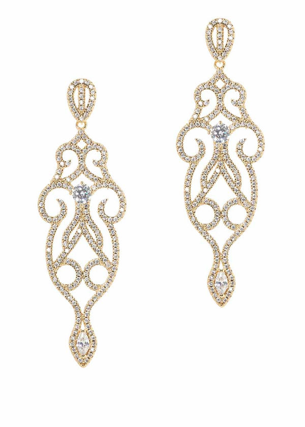 Edwardian ornate chandelier earrings with micro pave hand set high quality CZ, Gold finish