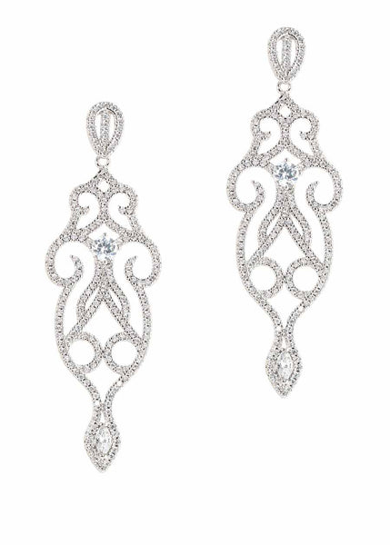 Edwardian ornate chandelier earrings with micro pave hand set high quality CZ, White Gold finish