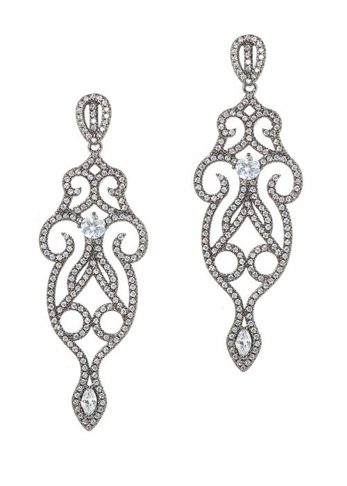 Edwardian ornate chandelier earrings with micro pave hand set high quality CZ, Gun metal finish
