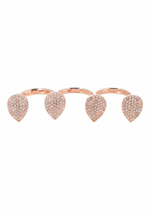 Four teardrop motive across three fingers open top ring with micro pave hand set high quality CZ, Rose Gold finish