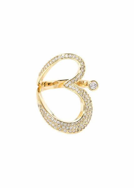 Open heart adjustable ring with micro pave hand set high quality CZ, Gold finish