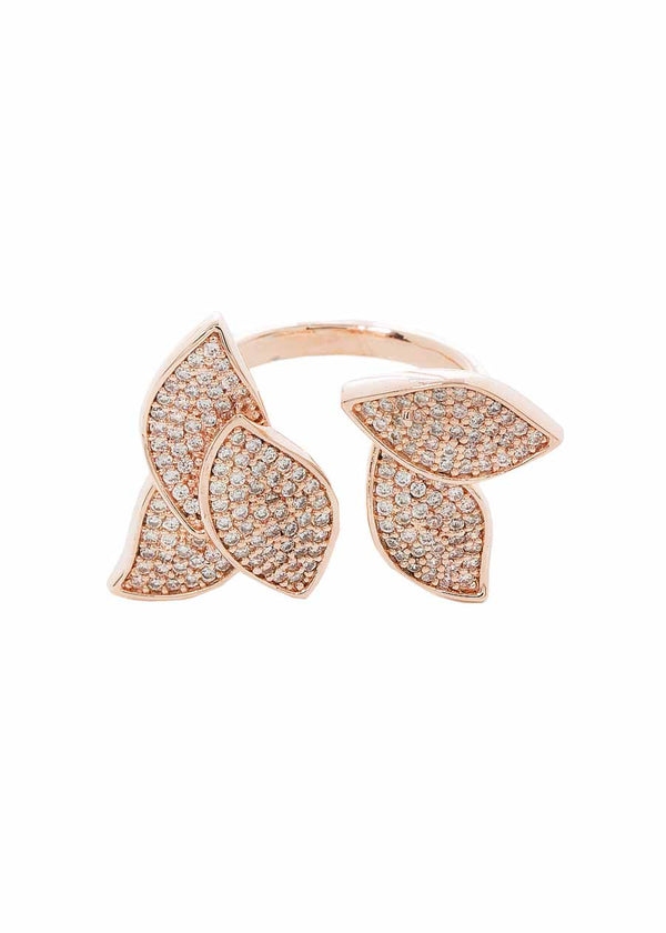 Pétale adjustable ring with micro pave hand set high quality CZ, Rose Gold finish