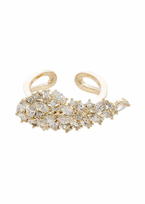 Angel wing ring with hand set high quality CZ, Gold finish