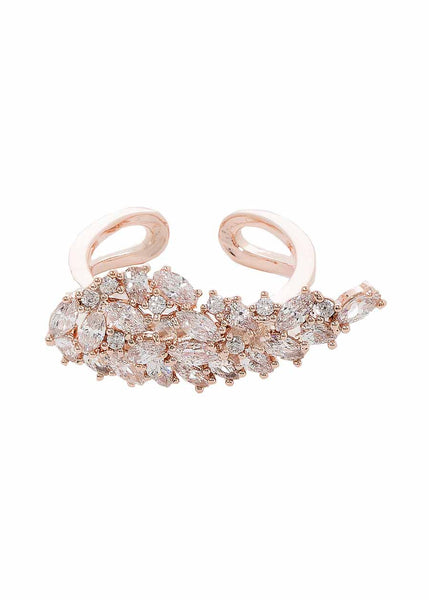 Angel wing ring with hand set high quality CZ, Rose Gold finish
