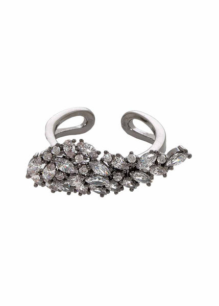 Angel wing ring with hand set high quality CZ, Gun metal finish