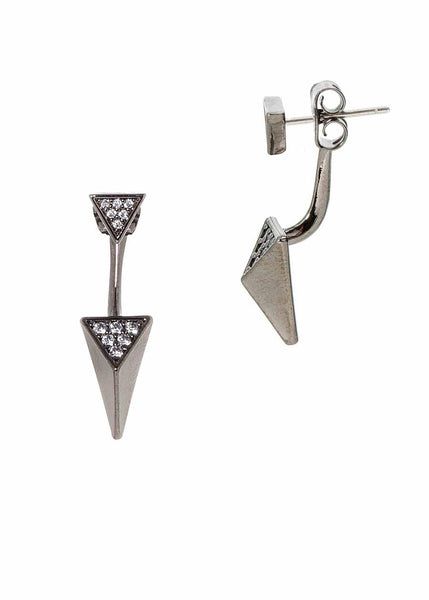 Geometric front back drop earrings with hand set micro pave high quality CZ.  Can be worn together or separate, Gun metal finish