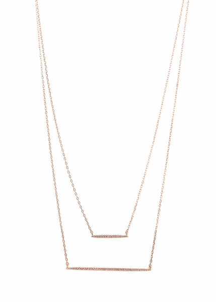 Double bar layered necklace with micro pave hand set high quality CZ, Rose Gold finish