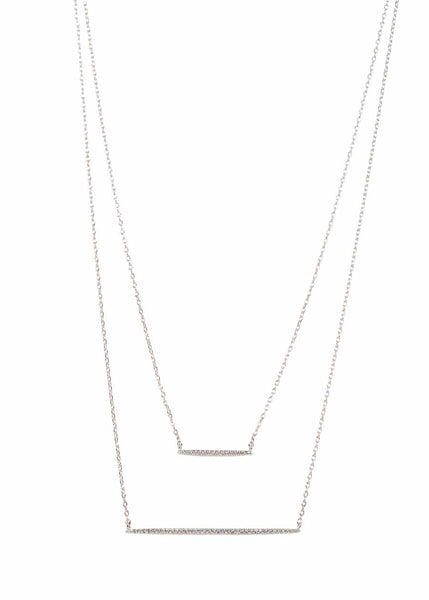 Double bar layered necklace with micro pave hand set high quality CZ, White Gold finish