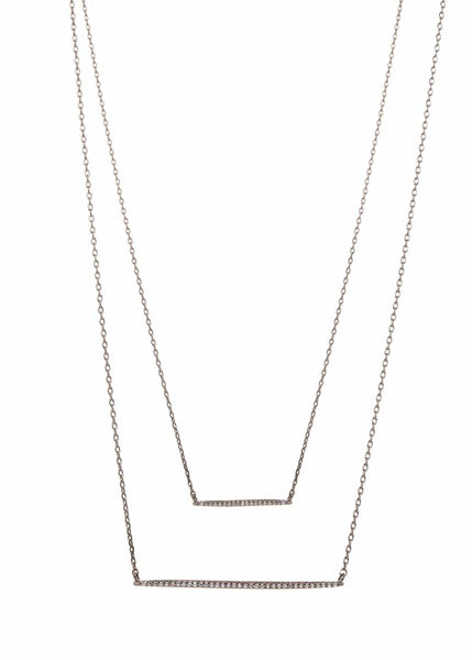 Double bar layered necklace with micro pave hand set high quality CZ, Gun metal finish