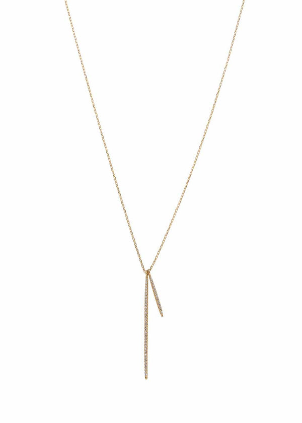 Double vertical bar necklace with micro pave hand set high quality CZ, Gold finish