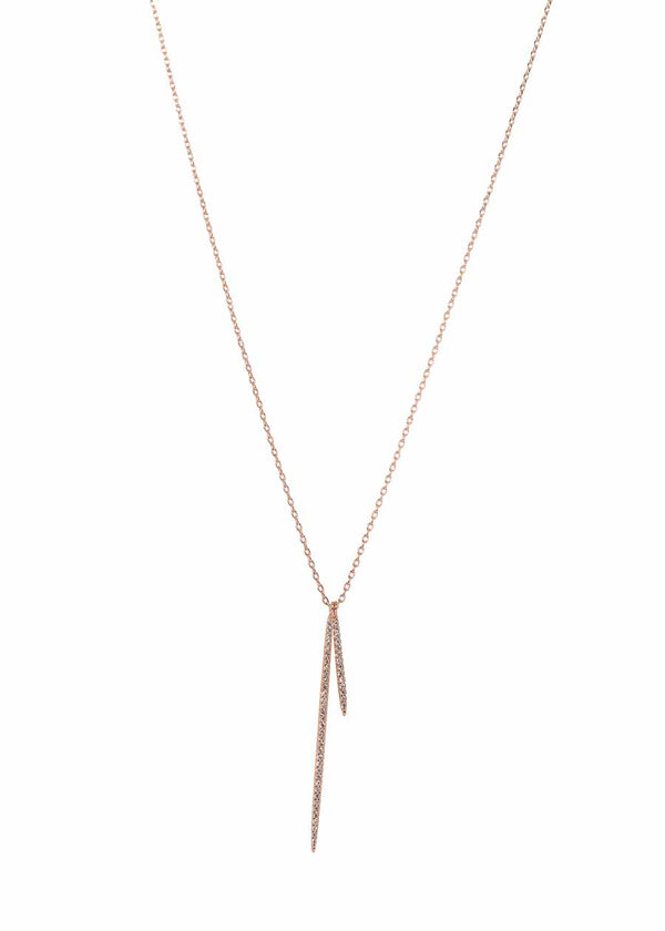 Double vertical bar necklace with micro pave hand set high quality CZ, Rose Gold finish