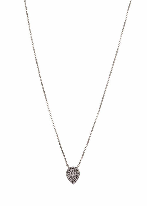 Reverse Large Tear drop short necklace with hand set micro pave high quality CZ, Gun metal finish