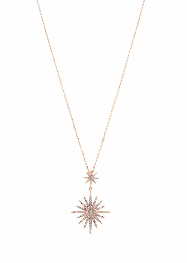 Theia (Goddess of light) two tier short necklace with micro pave hand set high quality CZ, Rose Gold Finish
